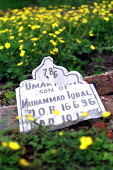 Racists smash headstones and desecrate Muslim graves in Greenacres Cemetery, Oldham the night after 11000 people voted BNP in the General Election and the weekend the NF planned to march. - Jess Hurd - 10-06-2001