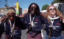London Fire Brigade firefighters join in the celebrations Notting Hill Carnival, London. - Jess Hurd - 27-08-2001