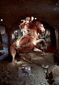 Rearing Horse and Rider. Plastinated whole bodies at the controversial Korperwelten art exhibition, by Prof. Gunther Von Hagens MD, Brussels, Belgium. - Jess Hurd - 12-12-2001