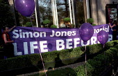 Simon Jones Memorial Campaign 4th Anniversary national day of action against casualisation. Simon was decapitated by a crane on his first day of work at Shoreham Docks. Protest at building industry�s... - Jess Hurd - 24-04-2002