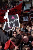 Act Up Lesbian and Gay activists join Anti National Front demonstration through Paris after the shock result for Jean-Marie Le Pen in the Presidential Election. - Jess Hurd - 27-04-2002