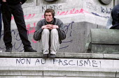 Anti Nazi graffiti at the Place De La Bastille after the shock result for Jean-Marie Le Pen in the Presidential Election. - Jess Hurd - 2000s,2002,activist,activists,bigotry,CAMPAIGN,campaigner,campaigners,CAMPAIGNING,CAMPAIGNS,DEMONSTRATING,demonstration,DEMONSTRATIONS,DISCRIMINATION,equal,equality,eu,Europe,european,europeans,FACISM