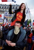 FN youth wing at Jean-Marie Le Pen Presidential rally, Paris. - Jess Hurd - 01-05-2002