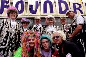 Traditional Pearly Kings and Queens mix with non conventioal types on Jubilee weekend. Free street party, The Foundry, East London. - Jess Hurd - 02-06-2002
