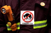 Scab Free Zone. Firefighters join lobby of pay talks, London. - Jess Hurd - 31-10-2002