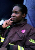 New recruit to the Fire Brigade, Poplar picket line. Firefighters dispute over pay, London. - Jess Hurd - 15-11-2002