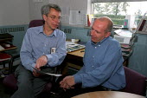 Glenn Ford TGWU steward with Human Resources manager 3M, Sandpaper production factory, Atherstone, Warwickshire. - Jess Hurd - 09-07-2002