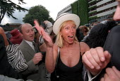Rich woman slaps a man who makes a sexist comment directed at her, Royal Ascot racecourse, Royal Enclosure. - Jess Hurd - 23-07-2000