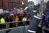 FBU firefighter addresses Anti war protest, Albert Square, Manchester. - Jess Hurd - 2000s,2003,activist,activists,adult,adults,anti war,Antiwar,asian,CAMPAIGN,campaigner,campaigners,CAMPAIGNING,CAMPAIGNS,DEMONSTRATING,DEMONSTRATION,DEMONSTRATIONS,FBU,fire brigade,firefighter,firefigh