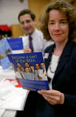 Dr Adwin Borman Chair of the BMA Int Committee and Sallie Nicholas Head of BMA Int Dept illustrate the support they are giving to refugee doctors to practise in the UK. Conference organised by the Ref... - Jess Hurd - 04-06-2003