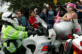 Protesters disrupt the police operation at Defence Systems and Equipment International Arms Fair, Excel Centre, London. - Jess Hurd - 10-09-2003