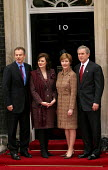 Tony Blair PM and Cherie meet with George Bush and his wife at No 10 Downing Street on the Presidents state visit to Britain. London - Jess Hurd - 2000s,2003,America,London,POL Politics,President,Street,UK,US,USA