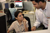 Worker and manager. Prudential Call Centre, Mumbai India. - Jess Hurd - 19-01-2004