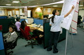 Target boards being updated. Transworks Call Centre, Mumbai India. - Jess Hurd - 20-01-2004