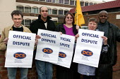 Picket at Poplar Jobcentre where PCS Civil Servants are striking over fair pay. London. - Jess Hurd - 2000s,2004,campaign,campaigning,CAMPAIGNS,centre,centres,Department ,DISPUTE,DISPUTES,DWP,EARNINGS,EQUALITY,fair,FEMALE,Income,INCOMES,INDUSTRIAL DISPUTE,inequality,job,job center,job centers,job cent