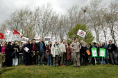 Protesters gather outside Belmash high security prison where 14 men are currently detained under the Anti-Terrorism, Crime & Security Act 2001. The prison is described as Britains Guantanamo Bay. Orga... - Jess Hurd - 04-04-2004