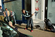 Shoreditch Urban Golf Open Tournament, East London. - Jess Hurd - 2000s,2004,ACE,alternative,caddy,cities,city,Club,clubs,culture,enjoying,enjoyment,fun,funny,game,games,Golf,golfer,Hackney,hobbies,hobby,hobbyist,Humor,humorous,humour,ironic,irony,JOKE,JOKES,joking,
