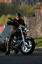 Lithuanian Bikers on their Harley Davidson motorbikes Vilnius, Lithuania. - Jess Hurd - 30-04-2004