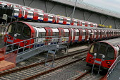 Jubilee Line underground tube trains, Stratford Depot. RMT tube workers strike over pay and conditions. East London. - Jess Hurd - 30-06-2004