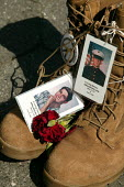 The boots of Jeffrey Michael Lucey who took his life six months after returning from service in Iraq. Vigil for the Fallen on the day George Bush is due to be nominated at the Republican National Conv... - Jess Hurd - 02-09-2004