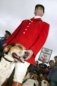 Countryside Alliance pro hunting rally with hound dogs. Labour Party Conference, Brighton. - Jess Hurd - 2000s,2004,animal,animals,canine,Conference,conferences,country,Countryside,demonstration protest,dog,dogs,fox,FOXES,hunt,hunting,huntsman,huntsmen,outdoors,outside,pack,Party,PROTEST,protests,rallies