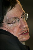 Professor Stephen Hawking taking part in Naming the Dead, Stop the War protest, Trafalgar Square, London 2004 - Jess Hurd - 03-11-2004
