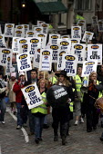 Guy Fawkes leads the PCS Civil Service Union one day strike against job cuts. London. - Jess Hurd - 05-11-2004