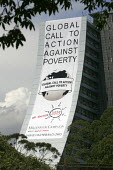 Global Call to Action Against Poverty banner drop World Social Forum, Porto Alegre Brazil. - Jess Hurd - 28-01-2005