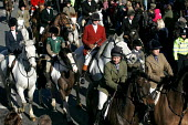 Belvoir, Cottesmore, Oakley Foot Beagles and Quorn fox hunts meet in Melton Mowbray for the first time after the ban on hunting with dogs. Leicestershire. - Jess Hurd - 19-02-2005
