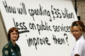 Unison unveils a pastiche of the Conservative party's 'Are you thinking what we're thinking?' posters. London. How will spending �35 billion less on public services improve them? - Jess Hurd - 2000s,2005,activist,activists,ambulance,AMBULANCES,BME Black minority ethnic,campaign,campaigner,campaigners,campaigning,CAMPAIGNS,DEMOCRACY,DEMONSTRATING,demonstration,DEMONSTRATIONS,election,ELECTIO