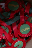 George Galloway MP Respect campaign rosettes. East London. - Jess Hurd - 23-04-2005