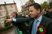 Oliur Rahman and George Galloway Respect election battle bus, East London. - Jess Hurd - 23-04-2005