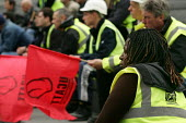 Construction workers at an International Workers Memorial Day rally. GLA London. - Jess Hurd - 28-04-2005