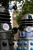 "Protesting Daleks tell G7, ''Save the humans - Exterminate the Debt"". World Development Movement demonstration outside the meeting of G7. Westminster, London. - Jess Hurd - 11-06-2005"