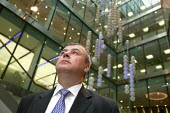 TUC Gen Sec Brendan Barber, alongside the sculpture The Source by Greyworld, a eight storey high kinetic sculpture in the atrium of the London Stock Exchange (LSE) . Barber is due to give his first sp... - Jess Hurd - 17-06-2005