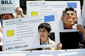 Shami Chakrabarti, Director of Liberty joins a protest against Identity Cards. No2ID, Westminster, London. - Jess Hurd - 28-06-2005