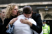 Sue Smith mother of Pte Phillip Hewett of 1st Battalion Staffordshire Regiment, who was killed on 16 July 2005, in Maysan province, Iraq, breaks down with her family after delivering a letter to 10 Do... - Jess Hurd - ,2000s,2005,activist,activists,adult,adults,anti war,Antiwar,CAMPAIGN,Campaign for nuclear disarmament,campaigner,campaigners,CAMPAIGNING,CAMPAIGNS,CND,delivering,DEMONSTRATING,demonstration,DEMONSTRA