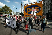 PCS and Media workers banners join Stop the War Peace and Liberty march. London. - Jess Hurd - 2000s,2005,activist,activists,anti war,Antiwar,BANNER,banners,CAMPAIGN,Campaign for nuclear disarmament,campaigner,campaigners,CAMPAIGNING,CAMPAIGNS,CND,DEMONSTRATING,demonstration,DEMONSTRATIONS,MAB,