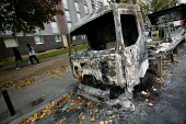 The burnt out vehicles that litter the estate of Aulnay Sous Bois after nights of rioting. Paris, France. - Jess Hurd - 11-11-2005