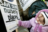 PCS members working in Bootle Civil Service protest at Parliament in a campaign to retain their subsidised nursery and playscheme which is under threat. Westminster, London. - Jess Hurd - 01-03-2006