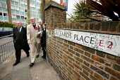 George Galloway Respect MP campaigns with prospective council candidates for Mile End and Globe Town ward in Tower Hamlets. East London. - Jess Hurd - 2000s,2006,council,Glyn,local authority,POL Politics,Robbins,UK