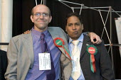 Glyn Robbins and Mehdi Hassan Respect candidates for Mile End and Globe Town. Tower Hamlets local election count. The Respect party won 12 seats in total. East London. - Jess Hurd - 05-05-2006