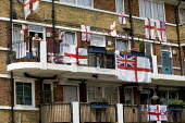 St Georges flags fly in Bermondsey supporting the England World Cup team. London. - Jess Hurd - 11-06-2006