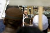 George Galloway Respect MP speaks at a Stop Police Terror, Defend Civil Liberties, Justice for Muslims protest outside Scotland Yard after a police anti terrorism raid in Forest Gate. London. - Jess Hurd - 11-06-2006
