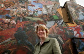 Ruth Kelly MP in front of the Cable Street mural on the 70th Anniversary of the Battle of Cable Street when the people of the East End of London united in defiance of Sir Oswald Mosley's British Union... - Jess Hurd - 2000s,2006,activist,activists,against,Anniversary,anti,anti semitic,Anti Semitism,antisemitic,Antisemitism,bigotry,Blackshirts,bme minority ethnic,CAMPAIGN,campaigner,campaigners,CAMPAIGNING,CAMPAIGNS