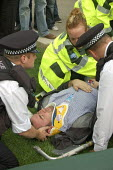 Marc Vallee lies injured on the ground after the police forcibly cleared the road during a Sack Parliament demonstration on the opening of Parliament. Westminster, London. - Jess Hurd - 09-10-2006