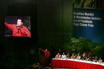 President Hugo Chavez in a stadium where he spoke at the World Social Forum. Caracas, Bolivarian Republic of Venezuela. - Jess Hurd - 08-02-2006