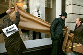 Burberry workers from the Treorchy factory in Wales bring their protest to London against factory closure and relocation to China. The Regents Street store is symbolically wrapped and sent to China. - Jess Hurd - 2000s,2007,activist,activists,against,Amicus,apparel,CAMPAIGN,campaigner,campaigners,CAMPAIGNING,CAMPAIGNS,Chinese,clothes,clothing,DEMONSTRATING,DEMONSTRATION,DEMONSTRATIONS,FACTORIES,factory,job los