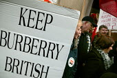Burberry workers from the Treorchy factory in Wales bring their protest to London against factory closure and relocation to China. Bond Street store. - Jess Hurd - 2000s,2007,activist,activists,against,Amicus,apparel,CAMPAIGN,campaigner,campaigners,CAMPAIGNING,CAMPAIGNS,Chinese,clothes,clothing,DEMONSTRATING,DEMONSTRATION,DEMONSTRATIONS,FACTORIES,factory,gmb,job