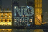 CND projection into the Houses of Parliament - No Trident Replacement. Westminster, London. - Jess Hurd - 21-02-2007